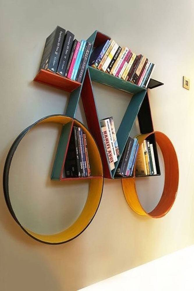 Creative Bicycle Bookcase Design #colorfulbookcase