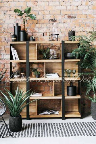 Industrial Bookcase Design #metalandwoodbookcase