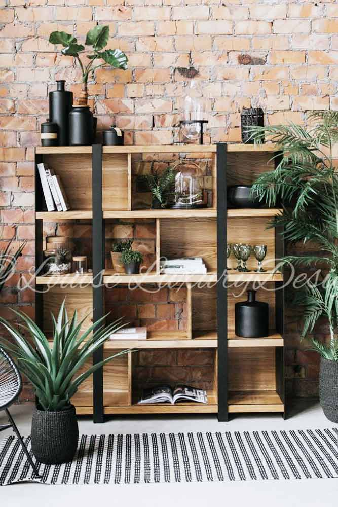 Industrial Bookcase Design #metalandwoodbookcase