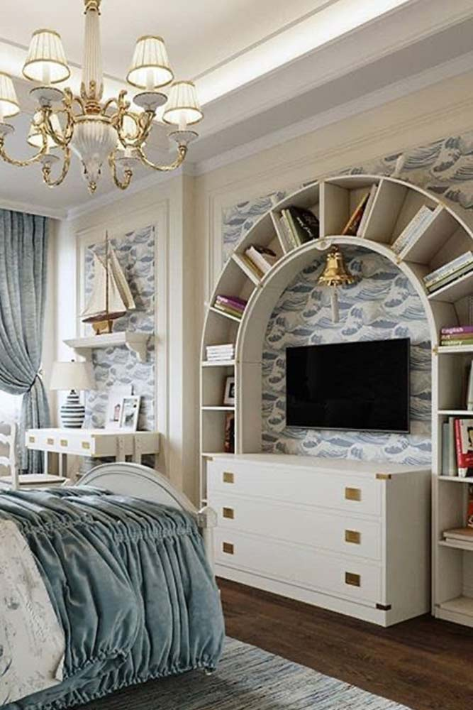 Arched White Bookcase Design #archedbookcase