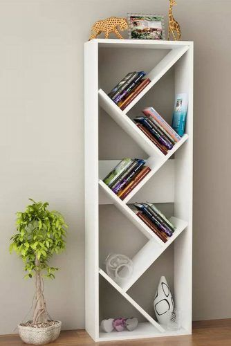 Asymmetrical Bookcase Design #whitebookcase