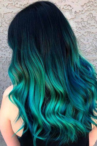 Black And Green Ombre #ombrehair #colorfuhair