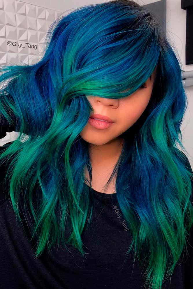 Blue And Green Balayage Hair #colorfulhair #longhair
