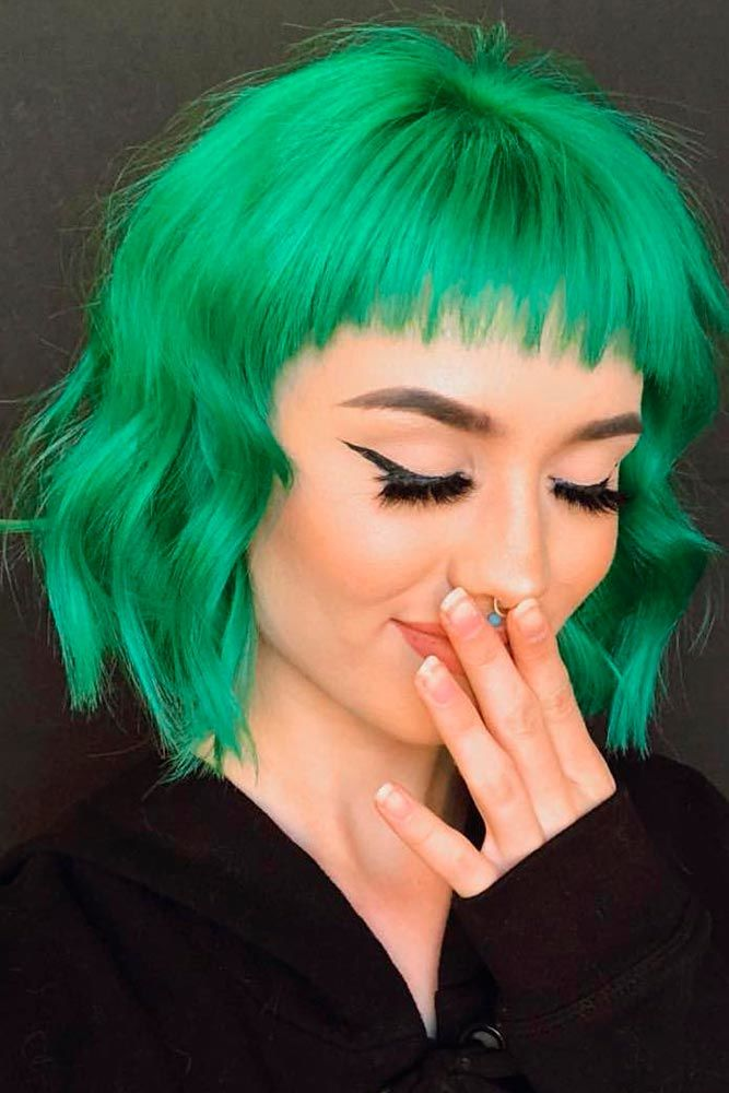 Bright Green #colorfulhair #shorthairstyles