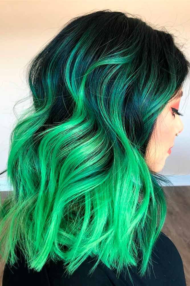 Bold Green Ombre Hair #colorfulhair #ombrehair