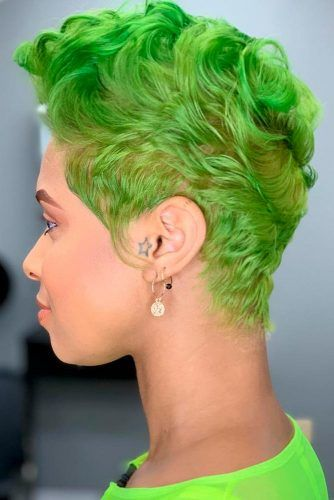 Lime Green #colorfulhair #shorthairstyles