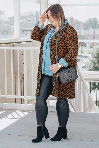 Leopard Plus Size Jacket With Leather Leggings Outfit #leopardcoat #leggings
