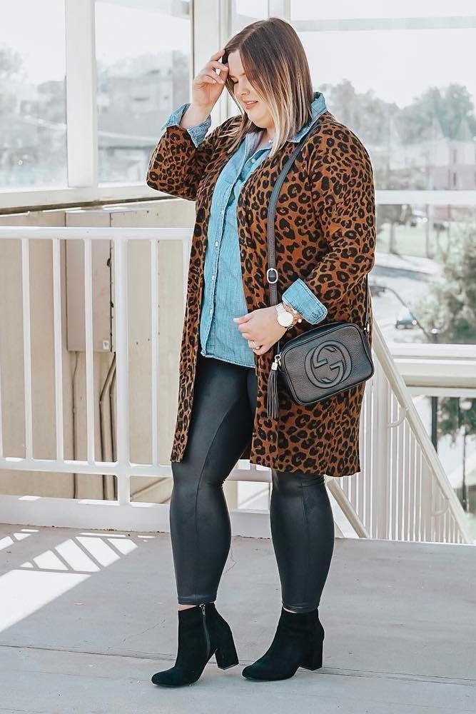 Leopard Plus Size Jacket With Leather Leggings Outfit #leopardcoat #leggings