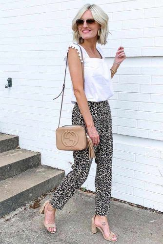 White Top With Leopard Trousers Outfit #leopardpants
