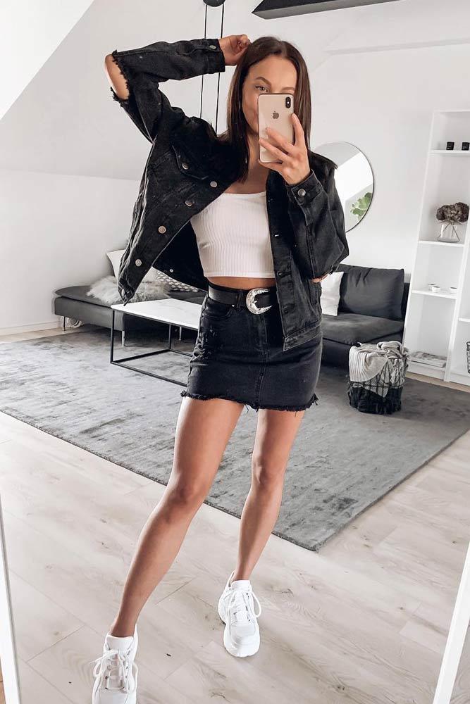 Black Mini Skirt With Black Denim Jacket #denimjacket #denimskirt