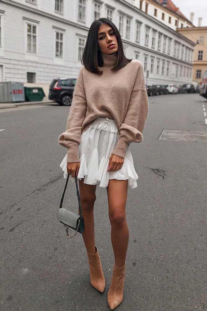 Mini Skirt With Cashmere Sweater #cashmeresweater