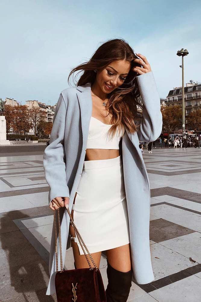High Waisted Mini Skirt With A Top And Coat #highwaistedskirt