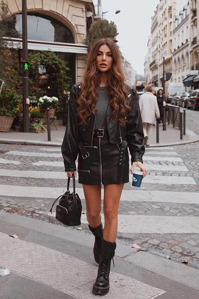 Rock Outfit With A Leather Mini Skirt And Leather Jacket #leatherskirt #leatherjacket