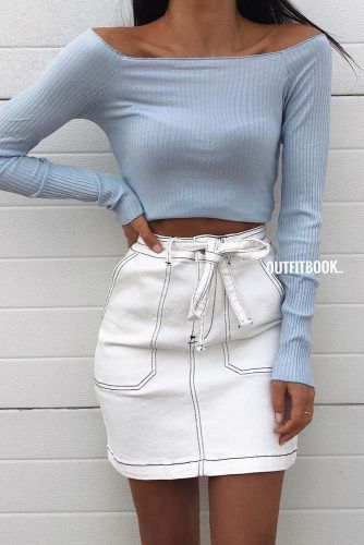 White Mini Skirt With Off The Shoulder Top #offtheshouldertop #
