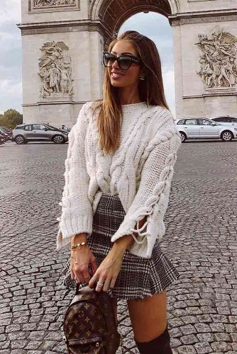 Plaid Mini Skirt With Oversize Sweater #oversizesweater