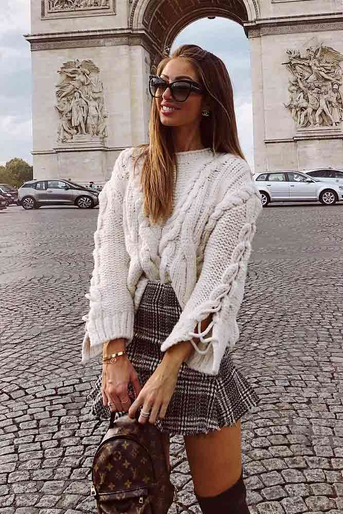 Plaid Mini Skirt With Oversize Sweater #oversizesweater