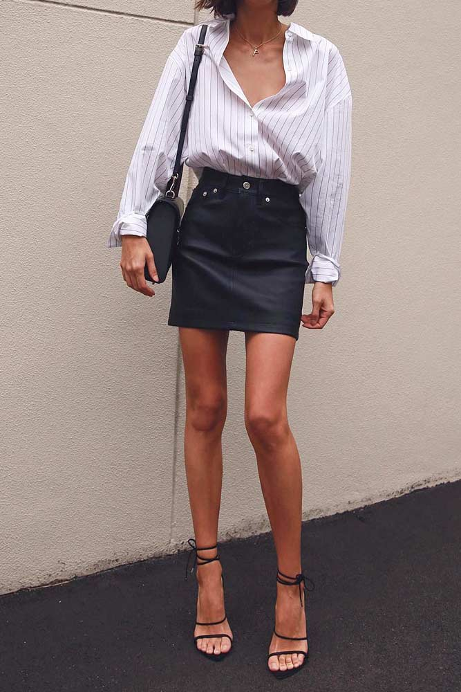 Classic Work Outfits With Mini Skirt #workoutfits