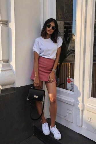 Casual Look With Pink Mini Skirt #pinkminiskirt