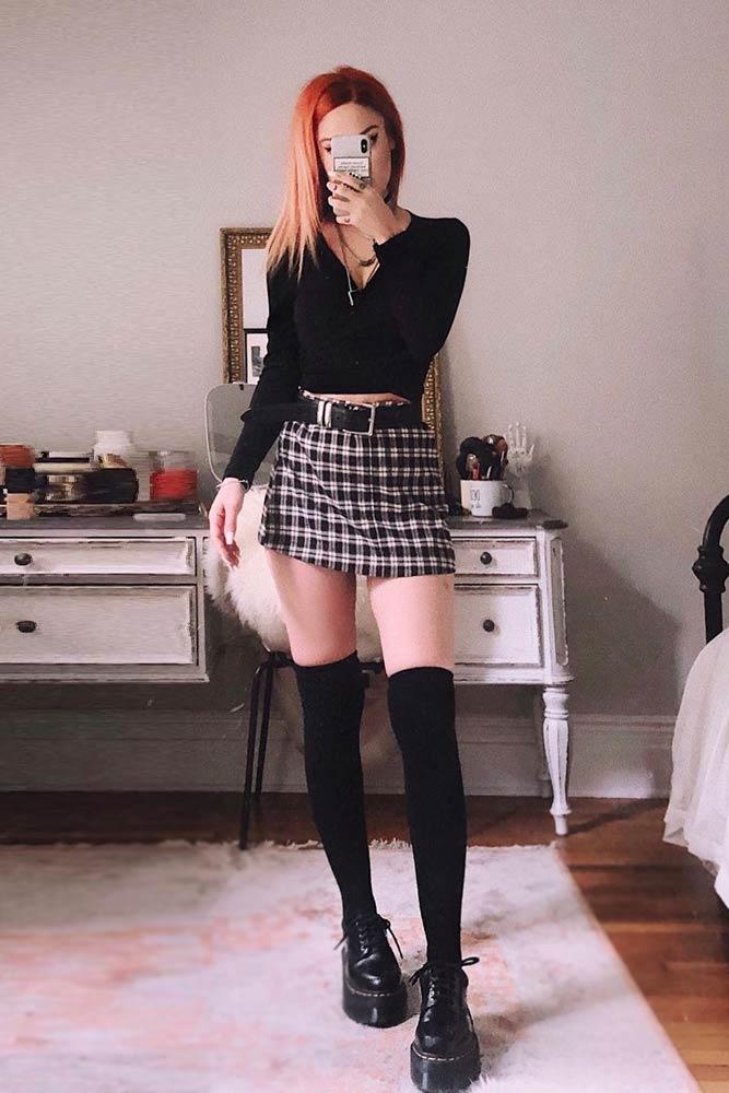 Plaid Mini Skirt With V-Neck Top And Boots #plaidminiskirt #plaidskirt #stockings