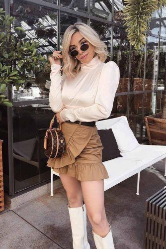 Ruffle Mini Skirt With Silk Blouse #ruffleskirt