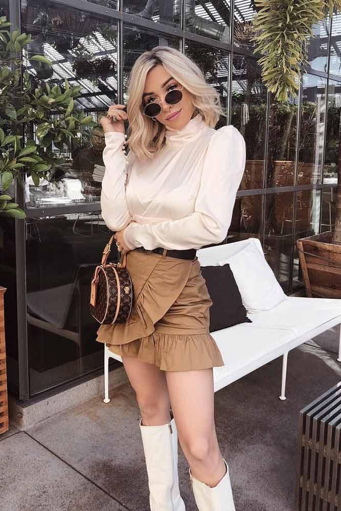 Ruffle Mini Skirt With Silk Blouse #ruffleskirt