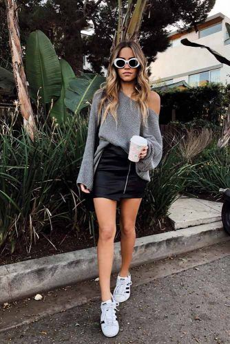 Black Leather Mini Skirt With One Shoulder Sweater #oneshouldertop