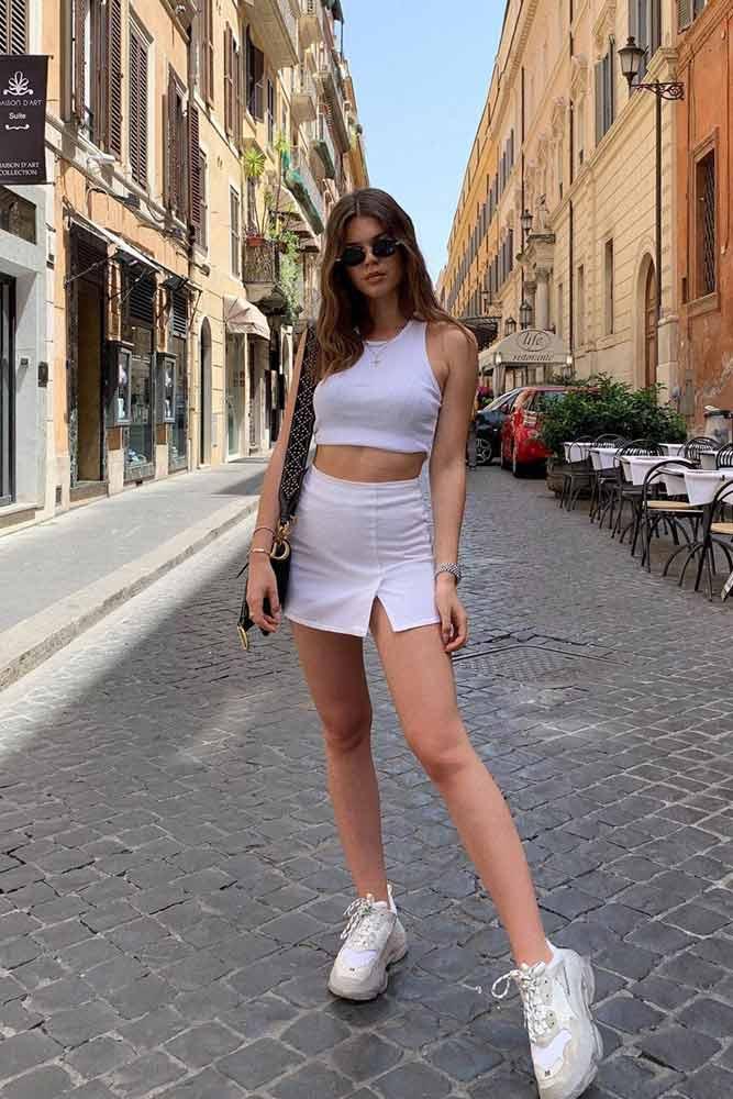 Sporty Look With White Mini Skirt #whiteskirt #sportylook