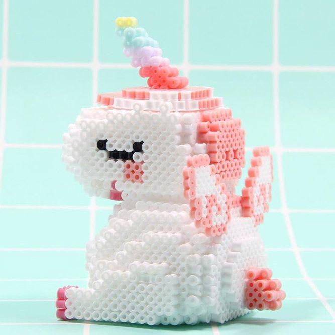3d Perler Beads Unicorn Craft #3dcraft