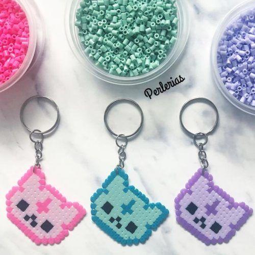 Keychain Perler Beads Idea #catperlerbeads