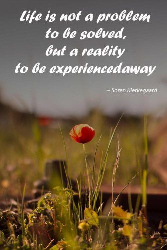 Life is not a problem to be solved, but a reality to be experienced #love #qoutes #life