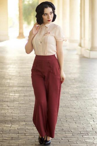 Beige Blouse With High Waisted Pants #highwaistedpants #blouse