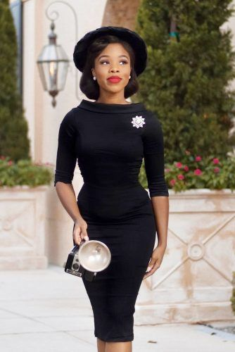 Black Bodycon Dress With Sleeves #blackdress #hat