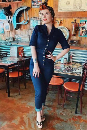 Denim Jumpsuit Outfit Idea #denimjumpsuit