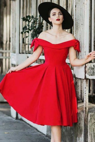 Red Off The Shoulder Retro Dress #reddress #shoulderoffdress