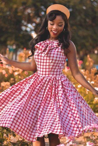 Plaid Dress In Pin Up Style #plaidprint #vintagedress