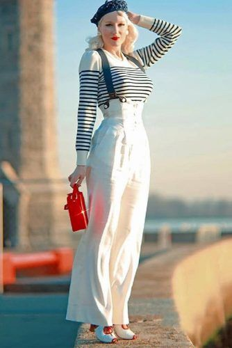 Striped Sweater With Fancy Slacks Idea #stripedtop