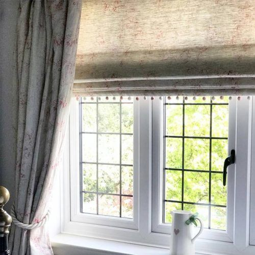 Double Layering Roman Blind & Curtains #floralcurtains
