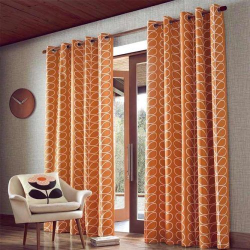 Bright Color With Pattern Design #orangecurtains