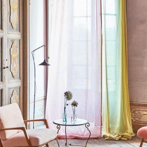 Yellow And Pink Linen Fabrics #coloredcurtains