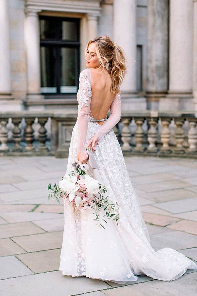 Backless Wedding Dress With Long Sleeves #backlessdress