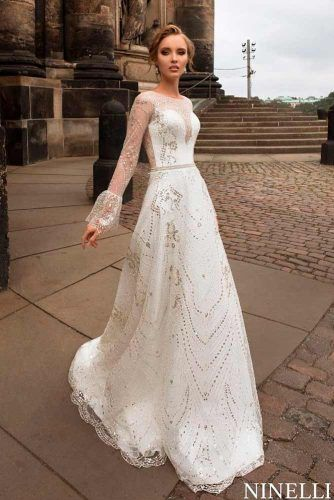 Bell Sleeve A-line Wedding Dress #bellsleeves #weddingdress