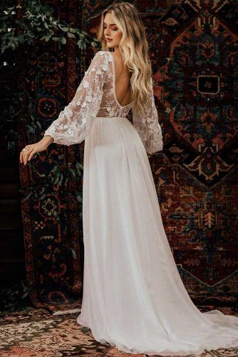 Bishop Sleeve Wedding Dress #backlessdress #bishopsleeves