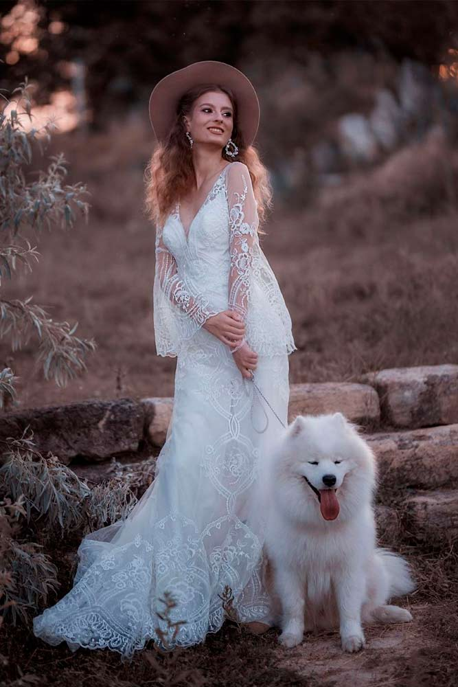 Boho Wedding Dress With Choir Boy Sleeves #bohoweddingdress #choirboysleeves