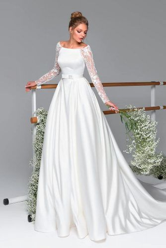 Embroidered Long Sleeve A-Line Wedding Gown #modestweddingdress #prettyweddingdress