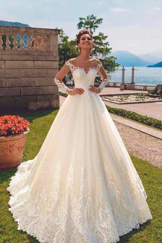 Featuring Illusion Long Sleeves Wedding Dress #ilussionsleeves #alinegown