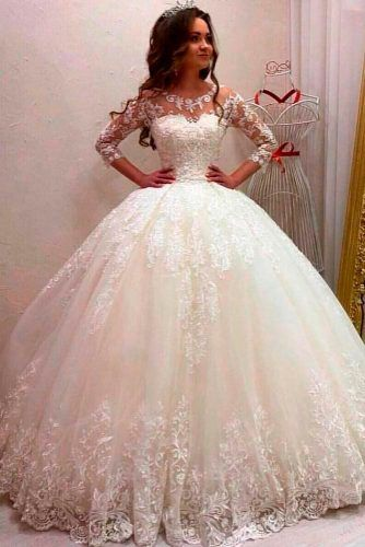 Airy Tulle And Sequin Lace Wedding Dress #ballgown #classicweddingdress
