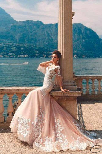 ¾ Length Circular Sleeves Wedding Dress #circularsleeves #mermaiddress