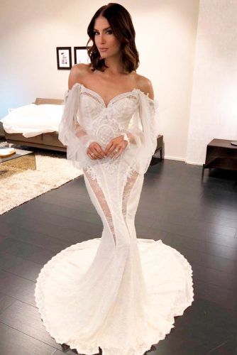 Off-The-Shoulder Mermaid Dress With Long Sleeves #mermaiddress #weddingdress