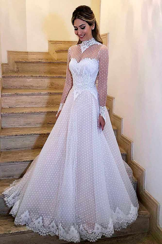 Dotted Wedding Dress With Sleeves #dotteddress #retrodressstyle
