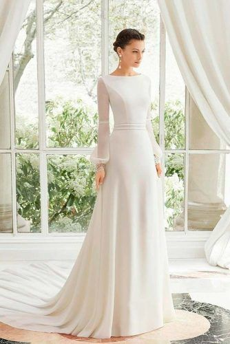 Simple Cuff Sleeves Wedding Dress #modestweddingdress #cuffsleeves